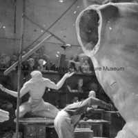 Marshall Fredericks working on the full-scale plasteline model of the torso for The Spirit of Detroit.jpg