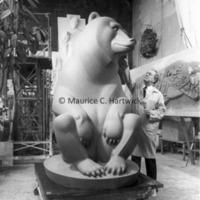 Marshall Fredericks working on the full-scale plasteline model of Two Bears.jpg