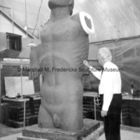 Marshall Fredericks working on the plasteline torso of the male figure for Star Dream Fountain.jpg