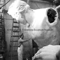 Marshall Fredericks working on the plaster model for The Spirit of Detroit in Oslo, Norway.jpg