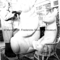 Marshall Fredericks working on the plaster model for Two Bears.tif