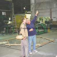 Michael Panhorst and an unidentified man at the Tallix foundry.jpg
