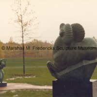 Persephone (Bacchante) and Siberian Ram in the Sculpture Garden of the Marshall M. Fredericks Sculpture Museum in the rain.tif