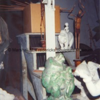 Plaster models for Victory Eagle (American Eagle) and The Boy and Bear with nickel plated plaster model of Baboon and Baby Chimpanzee in Royal Oak studio.tif