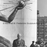 President Dwight D. Eisenhower speaking in front of The Spirit of Detroit2.jpg