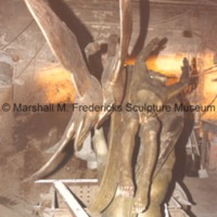 Rear view of bronze full-scale Wings of the Morning (Edgar B. Flint Memorial) at the foundry prior to patinization.tif