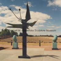 Rear view of Flying Pterodactyls with Male Baboon and Female Baboon outside of the entrance to the Marshall M. Fredericks Sculpture Museum.tif