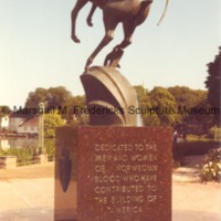 Rear view of Memorial to Norwegian Emigrants (Leaping Gazelle.tif