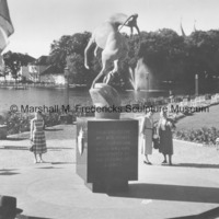 Rearside view of Memorial to Norwegian Emigrants (Leaping Gazelle.jpg