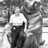 Roger Jacobi poses with Two Bears at Interlochen Center for the Arts.jpg