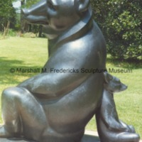Side view of bronze full-scale Two Bears at Brookgreen Gardens.tif