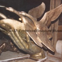 Side view of bronze Wings of the Morning (Edgar B. Flint Memorial) at the foundry prior to patinization.tif
