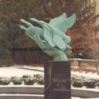 Side view of bronze Wings of the Morning (Edgar B. Flint Memorial) in Kirk in the Hills Presbyterian Church Columbarium3.tif
