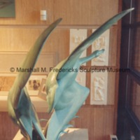Side view of full-scale bronze Flying Wild Geese in the Marshall M. Fredericks Sculpture Museum.tif