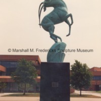 Side view of Leaping Gazelle Fountain on the campus of Saginaw Valley State University.tif