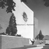 Side view of Night and Day Fountain and Sculptured Clock at Henry J. McMorran Auditorium.jpg
