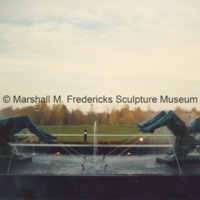 Side view of Night and Day Fountain in shadow outside of the Marshall M. Fredericks Sculpture Museum.tif