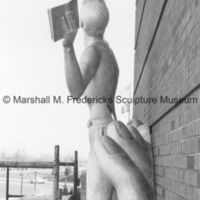 Side view of Youth in the Hands of God following its installation at the Marshall M. Fredericks Sculpture Museum.tif