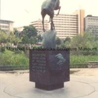 Siderear view of Memorial to Norwegian Emigrants (Leaping Gazelle.tif