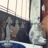 Site model for Two Sisters Fountain with the plaster model of The Boy and Bear in the background of Marshall Fredericks' Royal Oak studio.tif