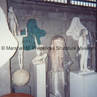 The interior of Marshall Fredericks' Royal Oak studio with various plaster models and reliefs.tif