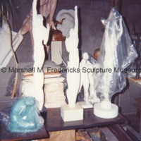 The interior of Marshall Fredericks' Royal Oak studio with various plaster models.tif