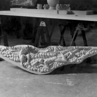 The plaster model for Huckleberry Finn and Tom Sawyer Observing Riverboats and Giant Catfish for Spirit of Kentucky.jpg