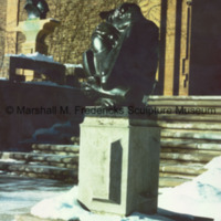 The Thinker at Cranbrook Art Museum surrounded by snow.jpg
