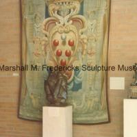 The Thinker at the Birger Sandzen Memorial Gallery between two sculptures.tif