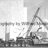 The truck transporting The Spirit of Detroit arrives at the City-County Building.jpg