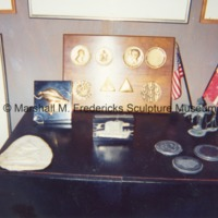 Various medallions and awards in Marshall Fredericks' Royal Oak studio.tif
