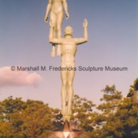 View of bronze Star Dream Fountain in Barbara Hallman Plaza - 1997.tif