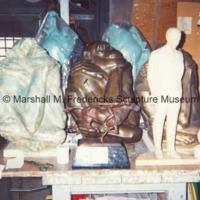 View of bronze The Thinker, Baboon and Sleeping Child and Baboon and Sitting Friend and plaster models for Henry Ford and Aspiration in the Royal Oak studio.tif