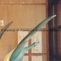 View of full-scale bronze Flying Wild Geese in the Marshall M. Fredericks Sculpture Museum.tif