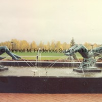 View of full-scale bronze Night and Day Fountain in the Sculpture Garden on the grounds of the Marshall M. Fredericks Sculpture Museum.tif