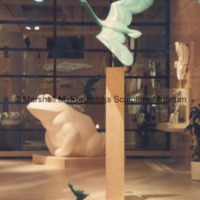 View of full-scale plaster model of The Friendly Frog and bronze Nordic Swan and Ugly Duckling in the Marshall M. Fredericks Sculpture Museum.tif