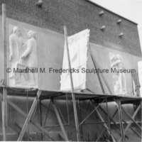 View of limestone reliefs and plaster models for the Ohio Union Building at Ohio State University.tif