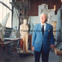 View of Marshall Fredericks in his Royal Oak studio surrounded by his work.tif