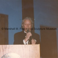 View of Marshall Fredricks speaking at the podium during the American-Scandinavian Foundation party honoring him.tif