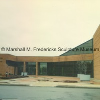 View of rear entrance to the Arbury Fine Arts Center and the Marshall M. Fredericks Sculpture Museum - 1988.tif