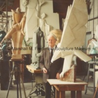View of Royal Oak studio with Marshall Fredericks and plaster model of Victory Eagle (American Eagle).tif