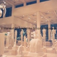 View of the interior of the Marshall M. Fredericks Sculpture Museum at night - 1989.tif