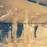 View of the interior of the Marshall M. Fredericks Sculpture Museum at night.tif