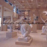 View of the interior of the Marshall M. Fredericks Sculpture Museum during its installation - plaster models partially in place.tif
