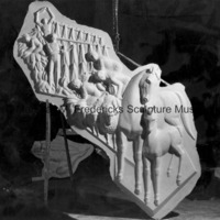 View of the plaster model for Thoroughbreds, Sheep and Tobacco Farmers for Spirit of Kentucky in the studio.jpg