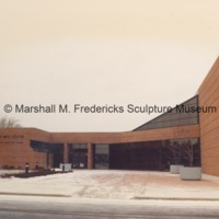 View of the rear entrance to the Arbury Fine Arts CenterMarshall M. Fredericks Sculpture Museum with snow.tif