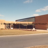 View of the rear entrance to the Marshall M. Fredericks Sculpture Museum in the Arbury Fine Arts Center.tif